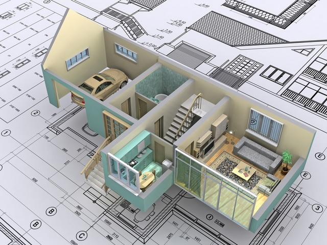 3D isometric view the cut residential house on architect's drawing. Background image is my own.